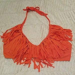 Neon Orange Fringe Scoop Neck Bikini Top